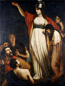 """Boadicea Haranguing the Britons"" by John Opie"