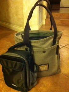 waterproof lunch bag is attached to tote--not so stylish